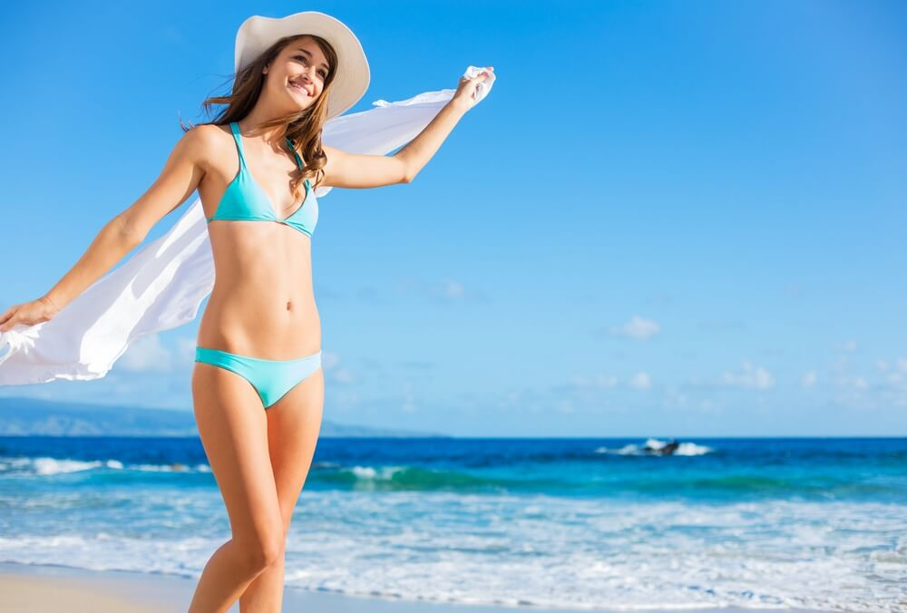 beach vacation beautiful woman sunhat bikini